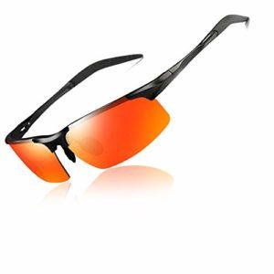 BSET BUY Lunettes de Soleil de Sport polarisées pour Hommes et Femmes, idéales pour la Conduite, la pêche, Le vélo et la Course, Protection UV Rouge