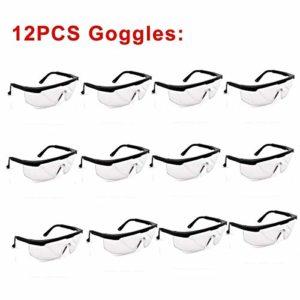 DER Verres de sécurité , 12pcs Anti poussière de sécurité Lunettes de Protection Anti Goggle Pollution Anti-éclaboussures Lunettes pour Un Usage Personnel , Professionnel (Color : Clear)