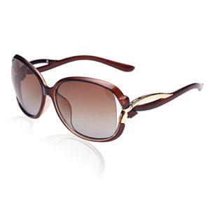 Duco Lunettes de Soleil polarisées pour Femmes 100% Protection UV – 2229 (Objectif brun de cadre brun)