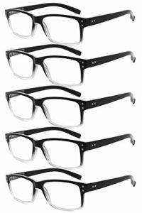 Eyekepper Lunettes de lecture vintage pour hommes – paquet de 5, monture noire et transparente +1.50