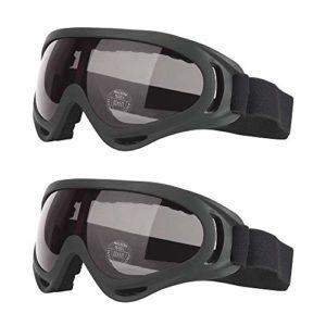 gotyou 2 Pièces Lunettes de Plein Air,des Lunettes de Ski,UV 400 Lunettes de Protection,Lentilles Antiéblouissant et Anti-poussière,Lunettes Tactiques,Lunettes de Protection UV(Noir)