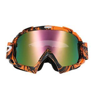 KKmoon d'équitation Masque de moto de lunettes de natation de fond anti-rayures anti UV anti-buée Jeu Moto True Membrane Semi-perméable Lunettes de cyclisme Orange Lunettes Lentilles de couleur