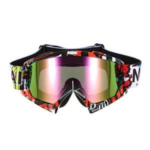KKmoon Lunettes de Cyclisme Goggle Ski Extérieur Coupe-vent Verre Anti-brouillard Lentille de Couleur Moto Courses Équitation