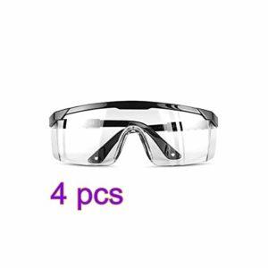 Lunettes de protection, GGHKDD de sécurité sur les lunettes rétractables, coupe-vent, résistant à la poussière, lunettes transparentes de protection de travail pour l'extérieur noir