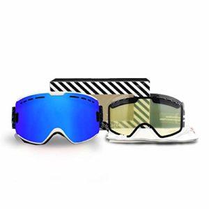 Lunettes de Ski pour Hommes et Femmes – Double Couche Anti-buée UV400 – Lunettes de Protection de Ski, Snowboard, Blanc/Bleu
