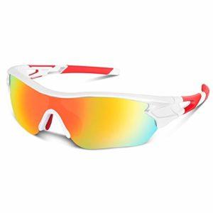 Lunettes de Soleil de Sports Polarisée pour Hommes Femmes Jeunes Baseball Cyclisme Course Pêche Golf Moto UV400 Lunettes (Blanc Rouge)