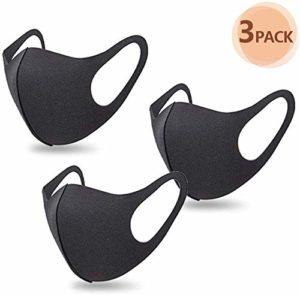 Merymall Lot de 3 masques de bouche unisexe anti-poussière et anti-pollution pour le visage en coton réutilisables pour cyclisme, camping, voyage, noir, IYLXZ923IB0818A70TC6, 3 pièces., 13x29cm