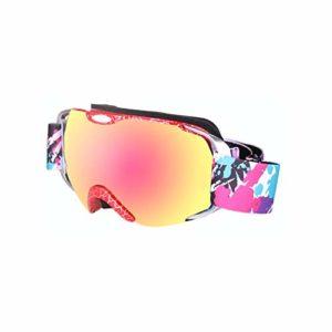 NA Accessoires pour Lunettes de ski Double Couche Antifog Large Sphérique Snow Sports Snowboard Montagne, Filigrane rouge