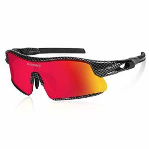 Queshark Polarisées Lunettes de Soleil Cyclisme avec 4 lentilles Pour vélo Course à pied Conduite Pêche Golf Baseball QE0049
