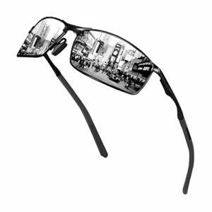Sunmeet Lunettes de Soleil Hommes Lunettes de sport polarisées – Lunettes de conduite avec monture en métal pour Hommes et Femmes S1008(Argenté/Noir)