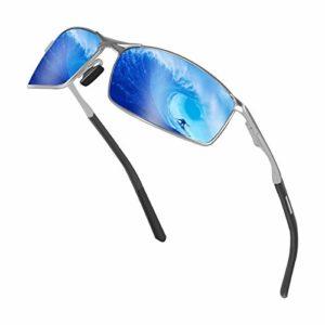 Sunmeet Lunettes de Soleil Hommes Lunettes de sport polarisées – Lunettes de conduite avec monture en métal pour Hommes et Femmes S1008(Bleu/Noir)