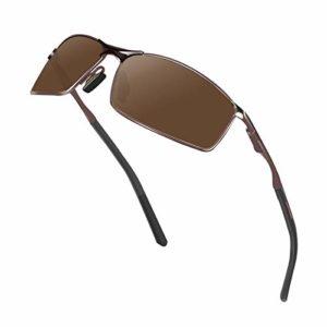 Sunmeet Lunettes de Soleil Hommes Lunettes de sport polarisées – Lunettes de conduite avec monture en métal pour Hommes et Femmes S1008(Marron)