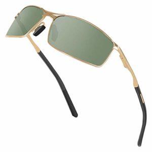 Sunmeet Lunettes de Soleil Hommes Lunettes de sport polarisées – Lunettes de conduite avec monture en métal pour Hommes et Femmes S1008(Vert/Noir)