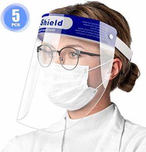 Visiere de Protection, 5 pièces Visiere de Protection Visage Caciales Transparentes réglables avec protection des yeux et de la tête, Couverture faciale Anti-éclaboussures pour femmes/hommes
