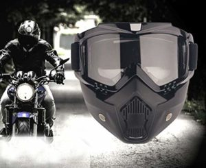 AOI Masque de Lunettes de Moto avec Masque Amovible, Masque de Motocross pour Motos avec Lunettes Amovibles et Filtre à Bouche pour Casques Vintage (Monture Noire, Verres Gris)