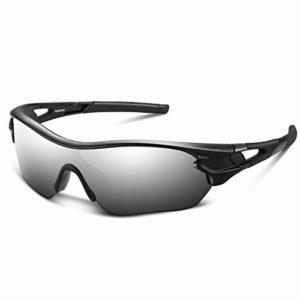 Bea Cool Lunettes de Soleil de Sports Polarisée pour Hommes Femmes Jeunes Baseball Cyclisme Course Pêche Golf Moto UV400 Lunettes (Argent Noir)
