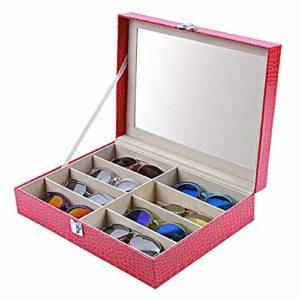 Étui de Protection pour Boîte à Lunettes Lunettes de soleil Boîte de rangement PU affichage de rangement en cuir Boîte à bijoux Boîte de rangement Cabinet femmes et étui à lunettes for enfants Lunette