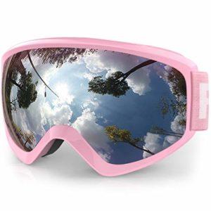 findway Masque de Ski Protection pour Enfant 5 à 16 Ans Lunette Ski Masque Ski OTG de Garçon ou Fille Anti-UV Antibuée Compatible avec Casque pour Ski Snowboard Hiver (Lentille Gris/Argent(VLT 21%))
