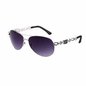 FONHCOO Lunettes de soleil femme Cadre en métal Protection UV Miroir (Noir)