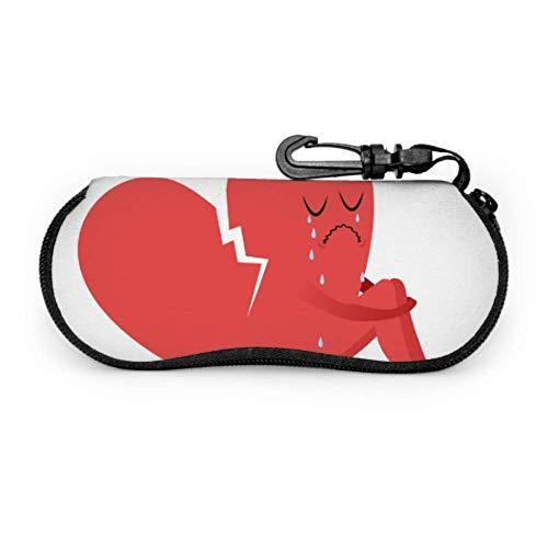 HHJJI Cassé triste rouge amour coeur forme étui pour lunettes de soleil étuis à lunettes lumière portable néoprène fermeture éclair étui souple lunettes de soleil cas femmes