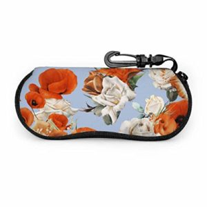 HHJJI Orange rétro romantique fleur pivoine multi étui à lunettes étui à lunettes pour femmes léger portable néoprène fermeture éclair étui souple élégant lunettes étui