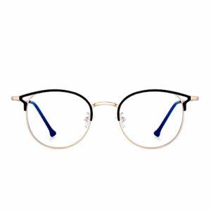 JIM HALO Lunettes Ordinateur Bloquant Lumière Bleue Designer Lunettes de Vue Oeil de Chat Rondes Métal pour Femmes Réduisent Souche d'oeil Or Noir