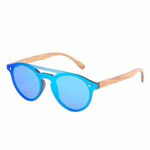 JKNK Lunettes de soleil en bois à la main hommes lunettes de soleil rondes en bambou pour femmes Designer rétro cadre en bois lunettes de soleil Ls5030, C5