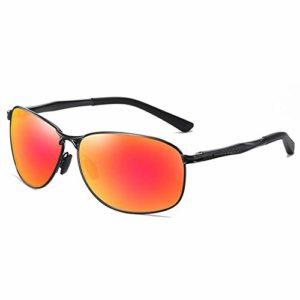 JKNK Lunettes de soleil polarisées carrées Hommes 2020 Lunettes de soleil rétro en aluminium-magnésium Lunettes de soleil anti-éblouissantes pour hommes, Noir-Rouge miroir, Sans étui en cuir