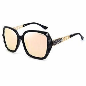 LECKIRUT Lunettes de Soleil Pour Femmes Polarisées Surdimensionnées Classiques 100% UV Protection cadre noir/lentille rose