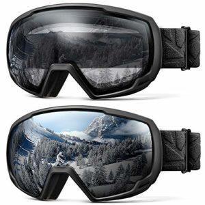 OutdoorMaster Lunettes de Ski Kids OTG – Lot de 2 Paires de Lunettes de Ski Kids, 100% Protection UV 400 – pour Enfants et Jeunes – Noir/Gris (VLT 10%) + Noir/Transparent (VLT 99%)