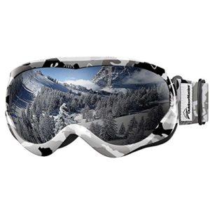 OutdoorMaster Masque de Ski pour Enfants Lunettes Compatibles avec Un Casque pour Garçons et Filles avec Une Protection UV à 100% (Black-White Frame + VLT 10% Grey Lens)