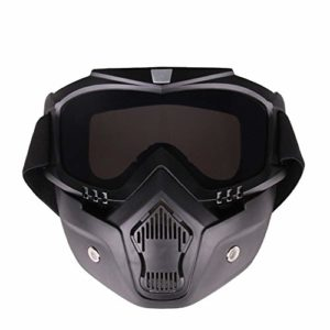 PuuuK Lunettes de Lunettes Deux-en-Un Masque Coupe-Vent Respirant Sable Accessoires de Sport en Plein air pour l'équitation Ski adaptés,Gris