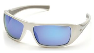 Pyramex Goliath Safety Eyewear, White Frame/Ice Blue Mirror Lens