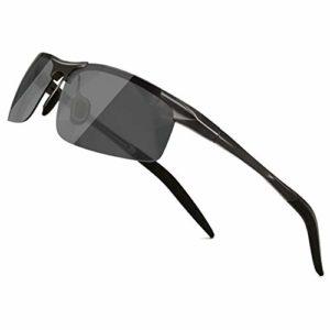 SUNGAIT Lunettes de soleil en monture métal polarisées pour hommes pour la conduite/la pêche/golf UV400 Noir/Gris 8177