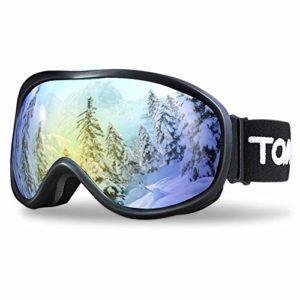 TOMSHOO Lunettes de Ski Lunettes de Ski Coupe-Vent adaptées aux Lunettes, Lunettes Anti-buée avec Protection Anti-UV pour Hommes (Doré)