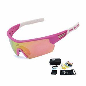 TOPTETN Lunettes de Cyclisme avec 5 Lentilles Interchangeables Lunettes de Soleil Polarisées Sports pour Hommes Femmes Cyclisme Moto Ski Pêche Golf Baseball Course (Pink)