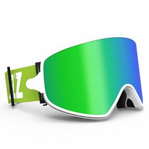 TveZz Lunettes de Ski Unisexe – Antibuée – Aimants de Ski – Vision Nocturne – Équipement de Protection des Yeux 2 en 1 L Vert