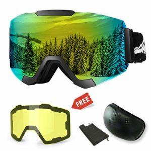 WLZP Masque de Ski, Lunettes de Ski Magnétiques Interchangeables avec 2 Lentilles de Modelage, Protection Anti-buée UV400 Lunettes de Snowboard avec pour Hommes, Femmes et Enfants