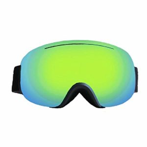 ZTY Masque De Ski Adulte SphÉRique Double Couche Anti-BuÉE Lunettes De Ski Alpinisme Coupe-Vent,Green-OneSize