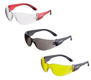 3 x voltX 'Grafter' Lunettes légères de sécurité, Certifiées CE EN166F / Lunettes de Cyclisme (Couleurs MÉLANGÉES: 1x Transparentes / 1x Fumé / 1x Jaunes – sans dioptrie) – Safety Reading Glasses