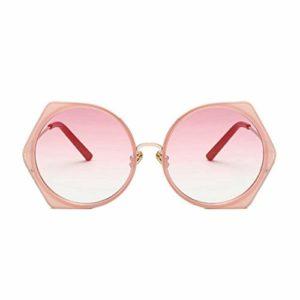 AMTSKR Lunettes de soleil rondes en métal avec monture en polycarbonate et protection UV pour femme, verres colorés pour femme, lunettes de soleil pour conduite d'été Design tendance (couleur : rose)