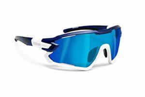 BERTONI Lunettes Cyclisme Vélo Running MTB Ski Mod. Quasar (Bleu-Blanc/Bleu Miroir)