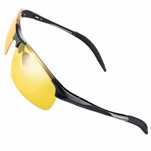 CHEREEKI Lunettes de Soleil Sport, Lunettes de Soleil Polarisées Cyclisme avec Protection UV400 pour Hommes et Femmes (Vision Nocturne)