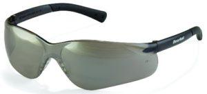 Crews BK317 BearKat 3 Polycarbonate Silver Mirror Lens Safety Glasses with Non-Slip Hybrid Black Temple Sleeve, 1 Pair