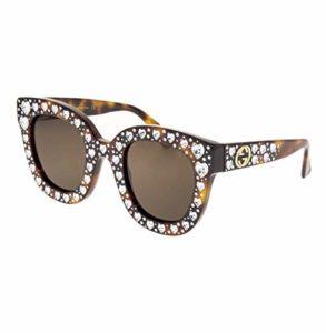 Gucci Lunettes de soleil femme GG0116S havana, Swarovski