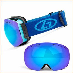 JYH Masques de Ski – Grand Masques de Ski sphériques sans Monture sans lentilles Verres interchangeables Double lentille Anti-buée 90 ° Anti-buée Pliable Protection UV400 pour,Noir