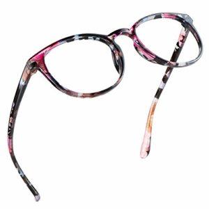 LifeArt Lunette Anti-Lumière Bleue, Anti fatigue, lunette de lecture pour ordinateur, Gaming Lunettes, lunettes de télévision pour hommes et femmes, Anti UV, Anti Reflets (Fleur, 0.25 Magnification)