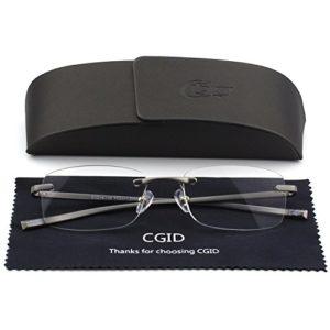 Lunettes de lecture fashion pour lecteurs à charnières à ressort pour femmes et hommes lunettes de lecture rectangulaires sans monture sans armature légères unisexes