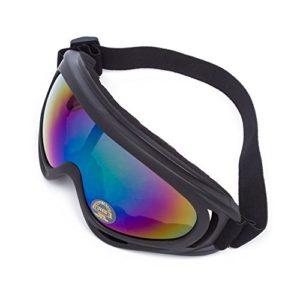 Lunettes de Protection Masque de Visage Incassable Anti-UV Coupe-Vent Anti-Poussière Anti-Sable Anti-Brouillard pour Activités Extérieurs Vélo Moto Cross VTT ATV Ski Équitation (Lentille Colorée)