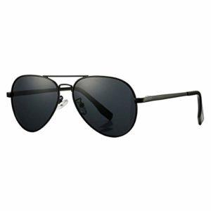 Lunettes de soleil polarisées pour hommes et femmes; cadres vintage/classiques/élégants; objectifs haute définition; golf/conduite/pêche/sports de plein air/lunettes de soleil tendance (【Pilot】 Noir)